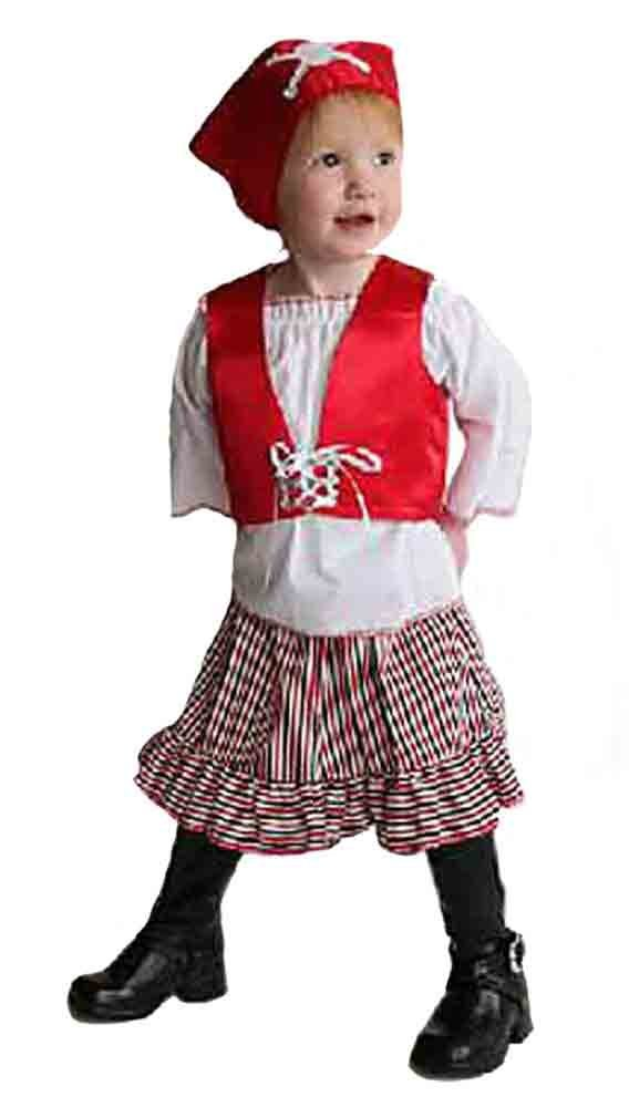 Image 0 of Mullins Square Girl Pirate Baby Costume, Red/Blue - 6-18 Months