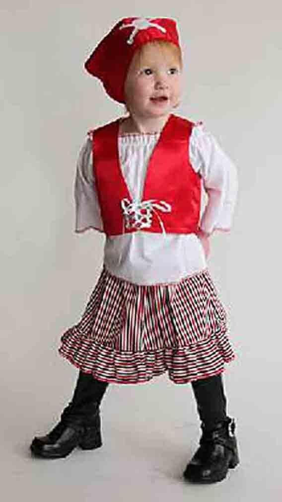 Image 1 of Mullins Square Girl Pirate Baby Costume, Red/Blue - 6-18 Months