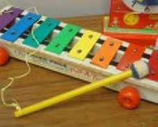 Vintage 1964 Fisher Price 870 Pull- A-Tune with Original Mallet and Pull String