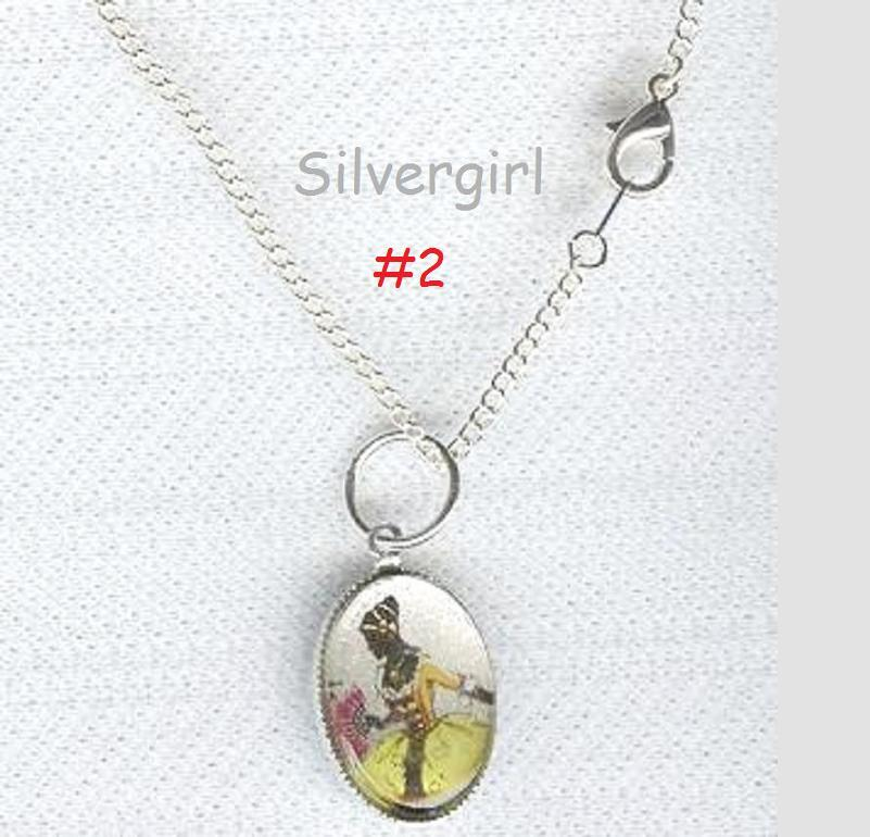 Cameo Like Southern Lady Picture Silver Necklace