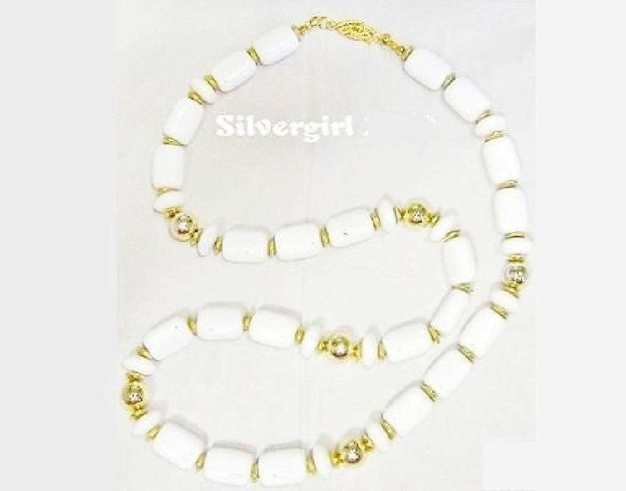 Vintage White Gold Glass Beaded Necklace Unbranded