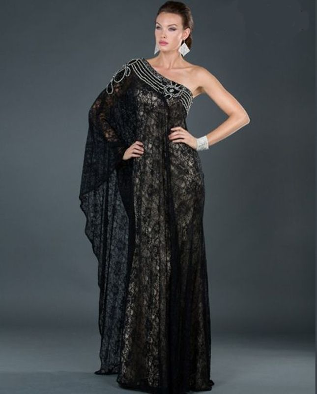 Image 1 of Sexy One Shoulder Grecian MOB Prom Black or Ivory All Over Lace Lined Dress $498