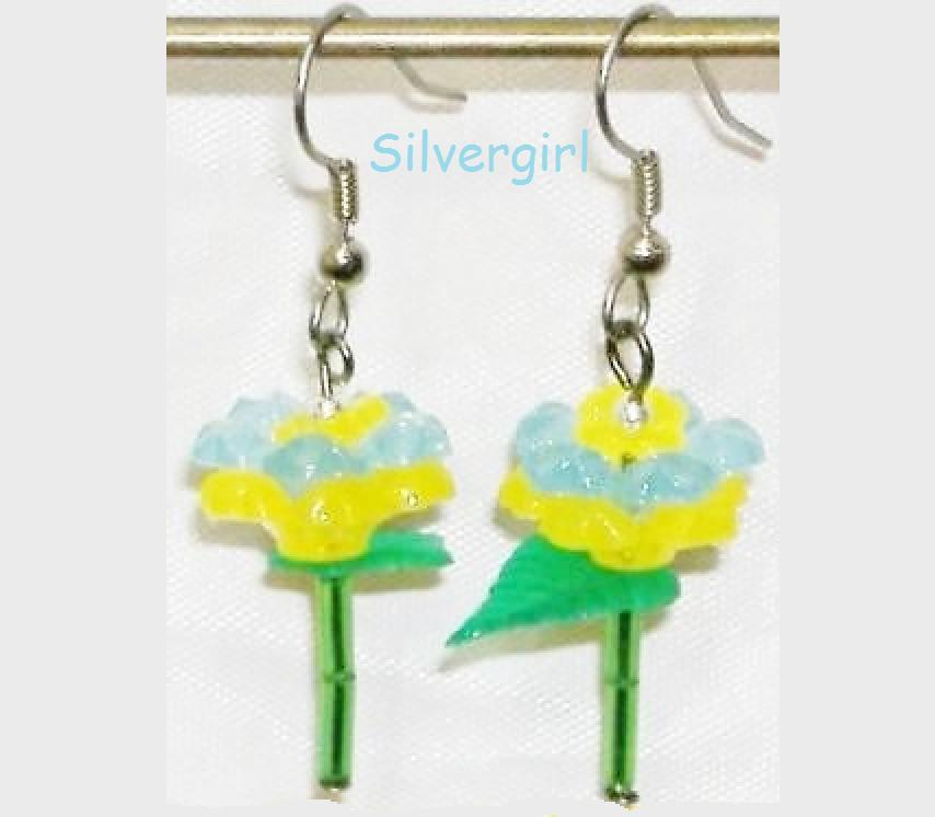 Single Stem Light Aqua Blue and Yellow Flower Earrings