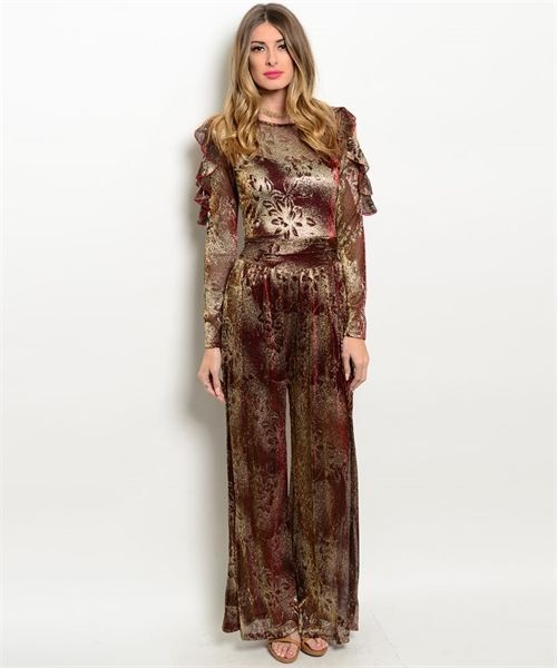 Sexy Wine and Gold Chiffon Lined Jrs Party Romper Jumpsuit S, M, L USA - Wine Go