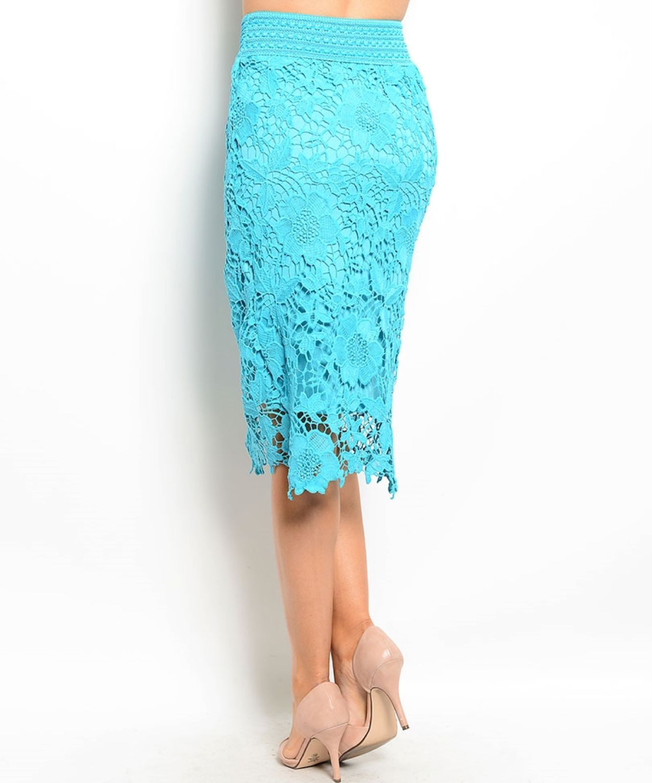 Image 3 of Chic Crochet Lace Lined Jr Skirt, Cocktail Club Wedding Party, Fuchsia or Aqua -