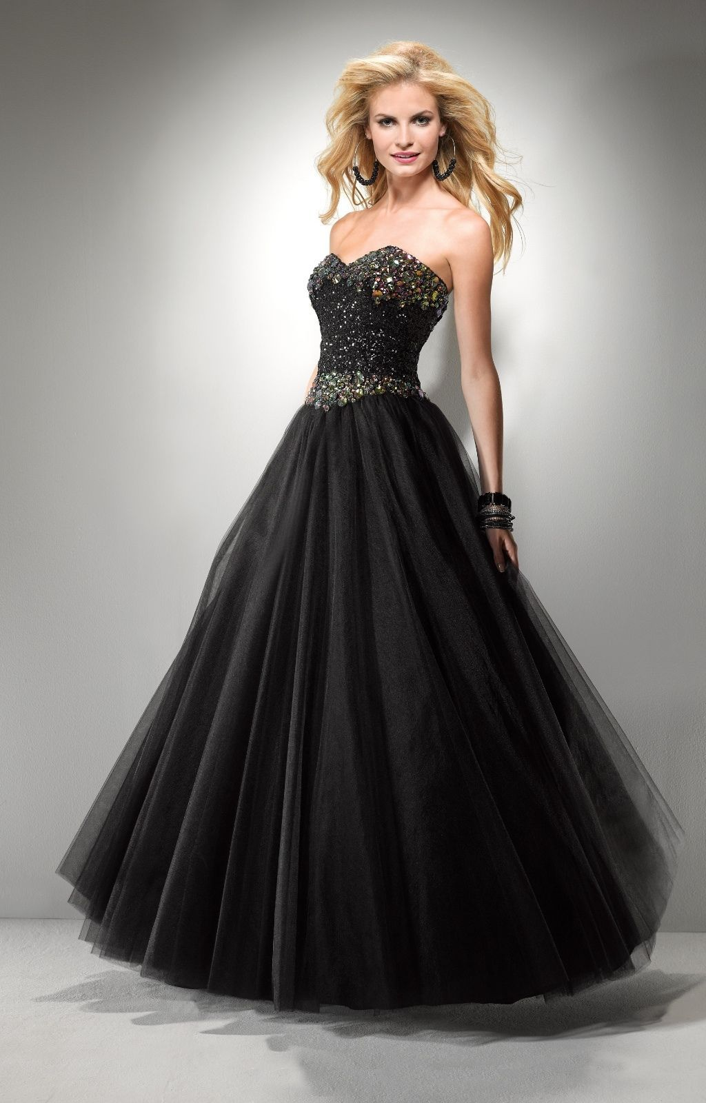 Image 3 of Sexy Strapless Black or Pink Beaded Prom Pageant Evening Gown Dress, Flirt 5794