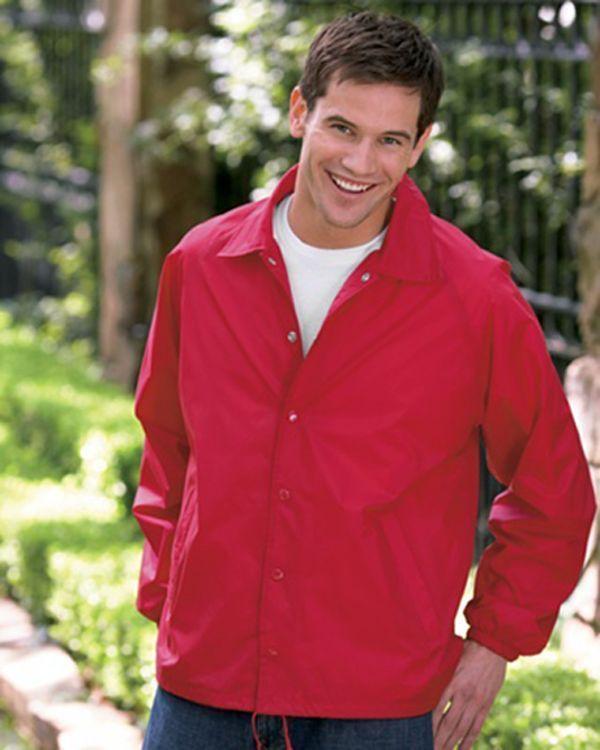 Image 1 of Auburn Kasha Lined Nylon Coach Jacket, Adult Solid Red,Blue,Black,Green L-4XL