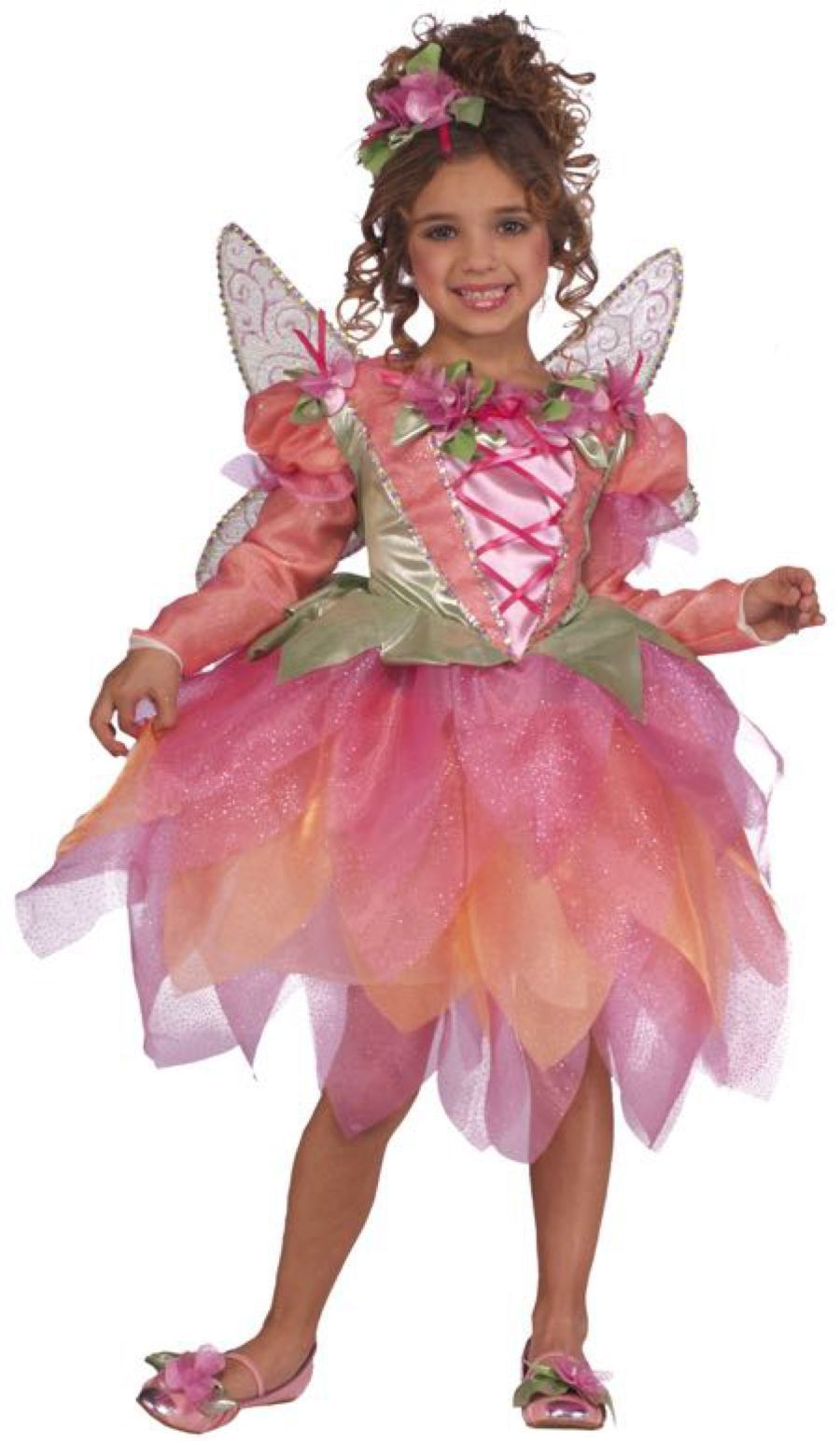 Image 2 of Rubies Deluxe Pink Pixie Girl's Costume w/Tutu Dres, Headpiece, Wings 881759 - P