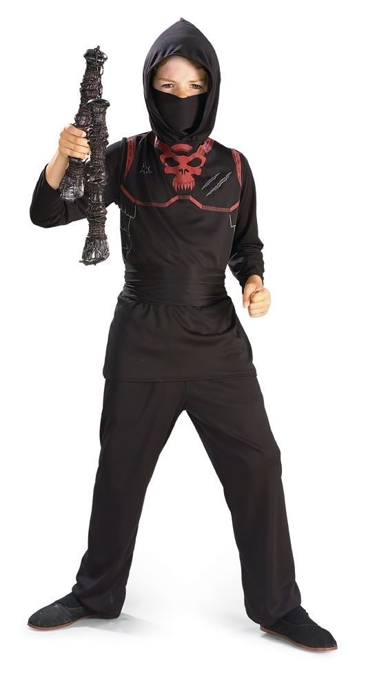 Image 2 of Rubies Brave Red Skull Ninja Super Hero Costume w/Waist Sash - Red