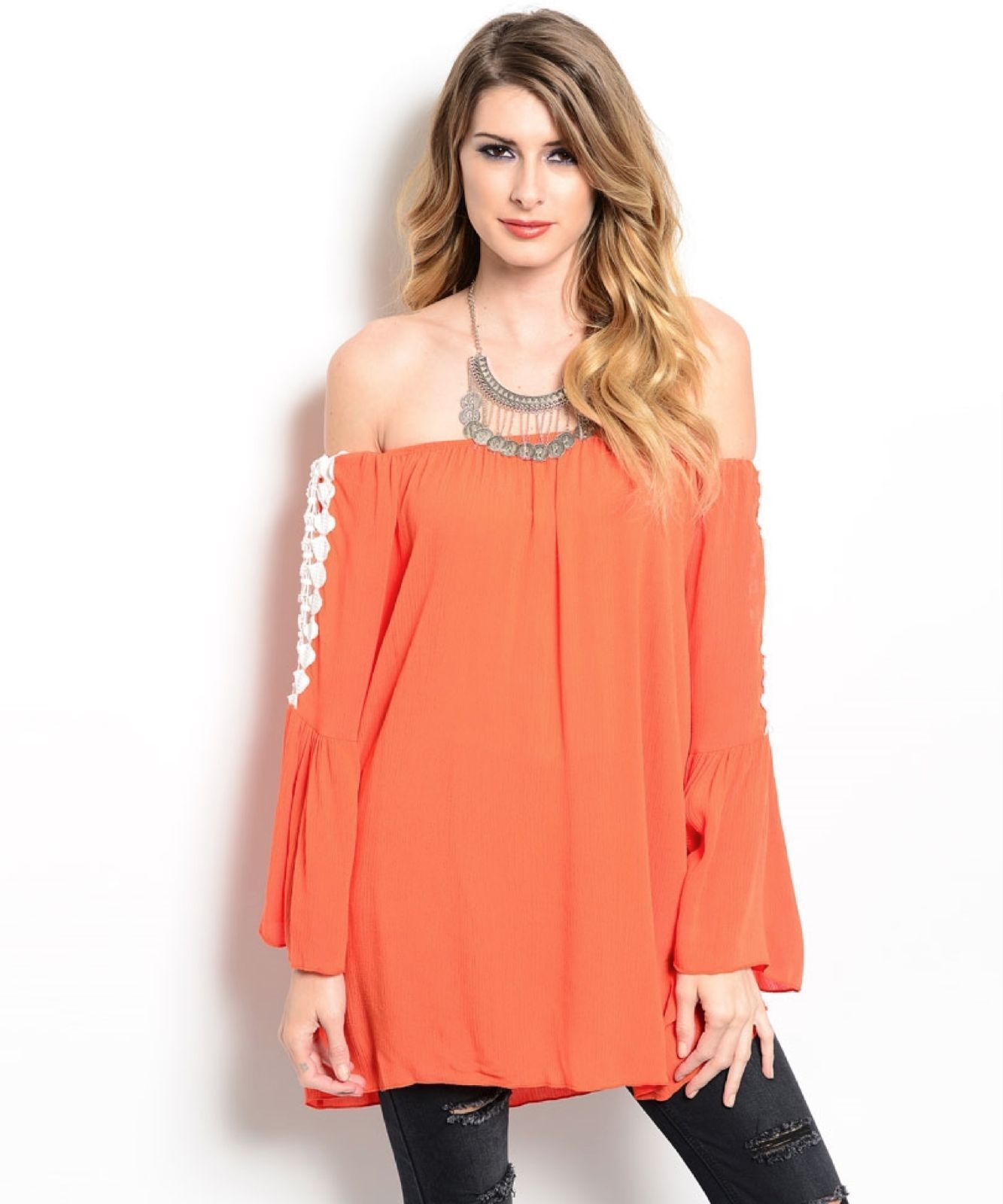 Flirty Tangerine Orange Off Shoulder Boho Jrs Party Cruise Top, Crochet Inset -