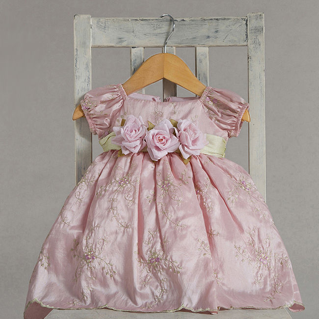 Dressy Holiday Embroidered Pastel Pink Boutique Infant Flower Girl Pageant Dress
