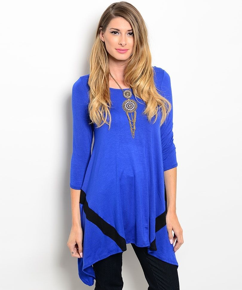 Image 2 of Dramatic Royal Blue Black Elegant Long Jrs Party Cruise Tunic Top S M or L