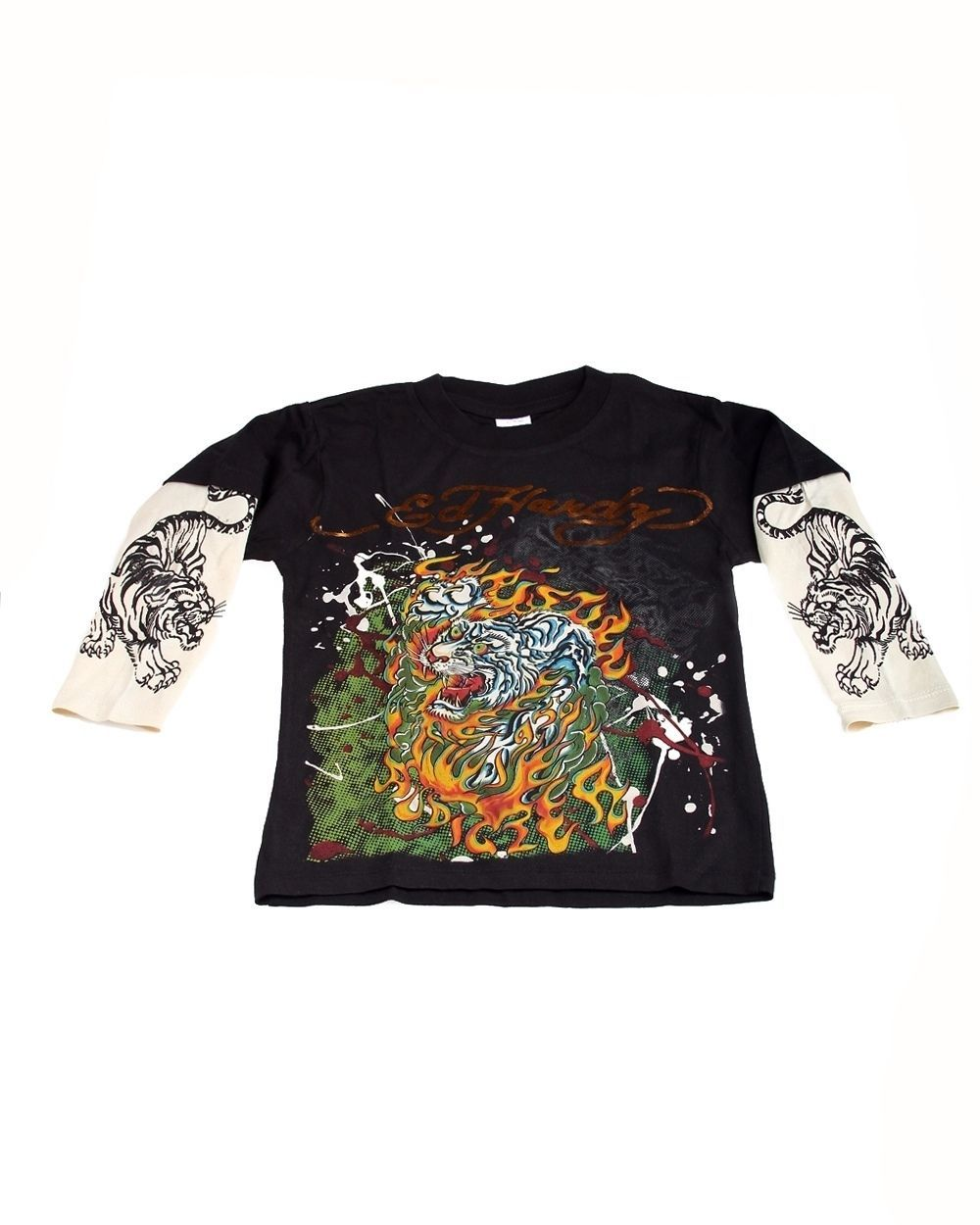 Popular Ed Hardy Boys Black Tee Shirt with White Tiger Motif, Double Long Sleeve