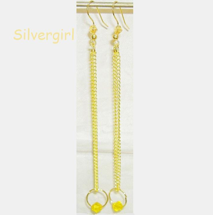 Long Gold Plate Jonquil Yellow Crystal Dangle Earrings