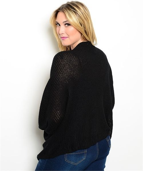 Image 3 of Chic Versatile Plus Size Black Cardigan Sweater Shrug Bolero XL,3XL
