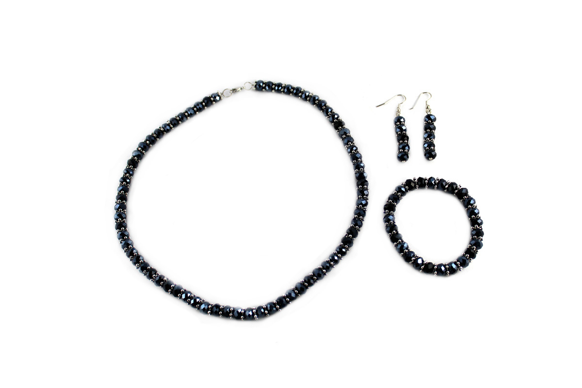 Royal Jewelry Set in Dark Blue Metallic Crystal