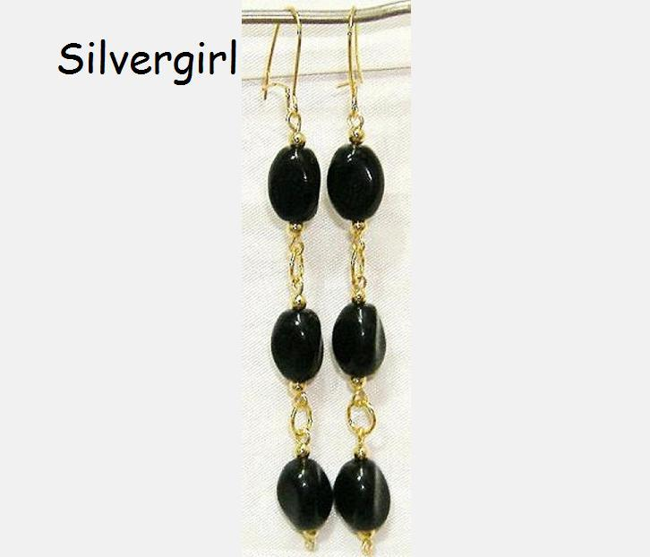 Black Twisted Glass Beaded Gold Dangle Earrings