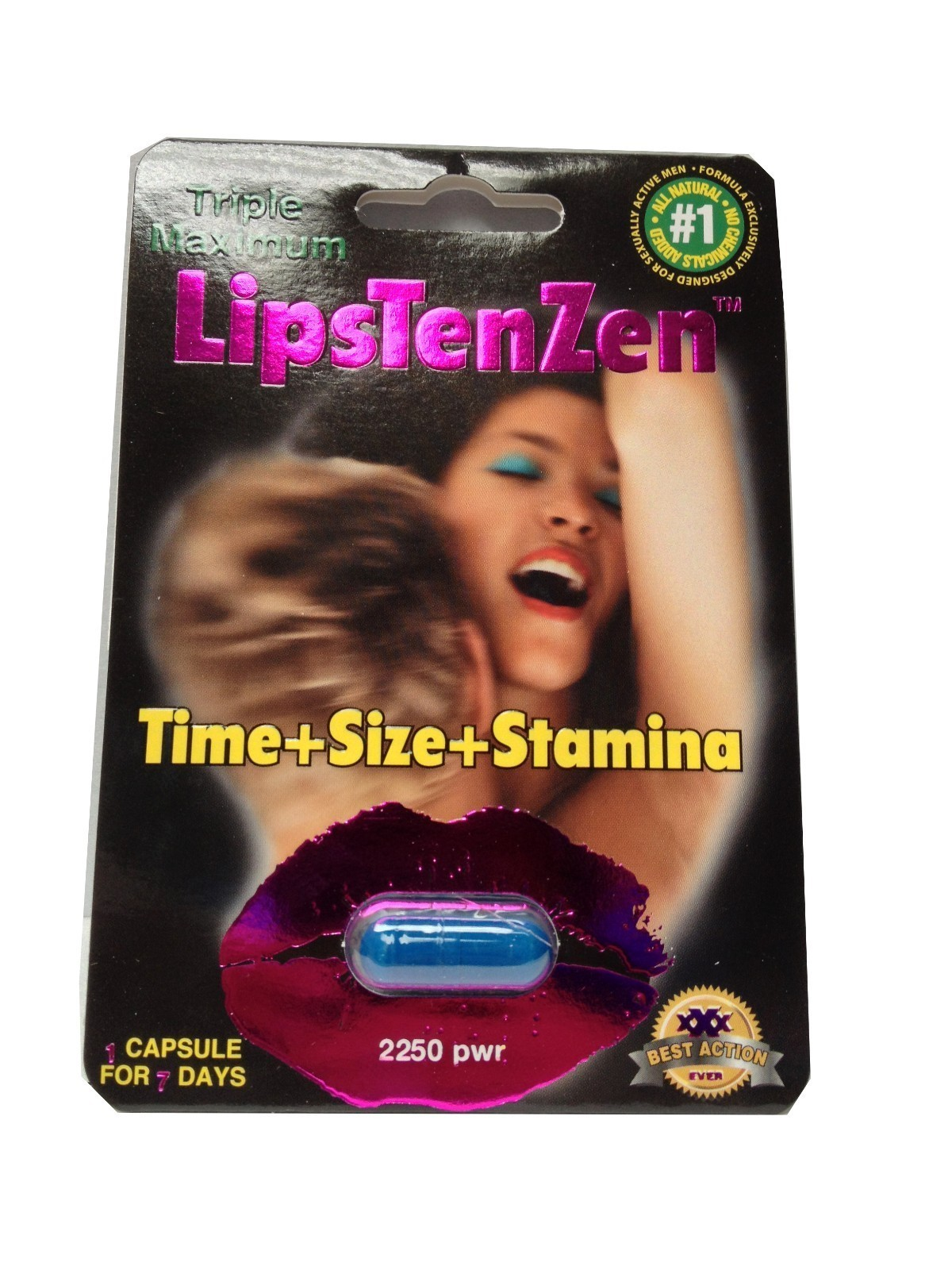 LipsTenZen Triple Maximum Male Enhancement Pill - 24 Pills! 1250mg Per Pill!