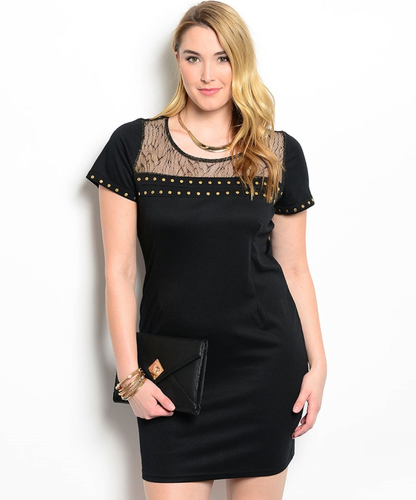 Image 0 of Sexy Studded Black and Gold Party Cruise Cocktail Plus Size Dress XL 2XL or 3XL