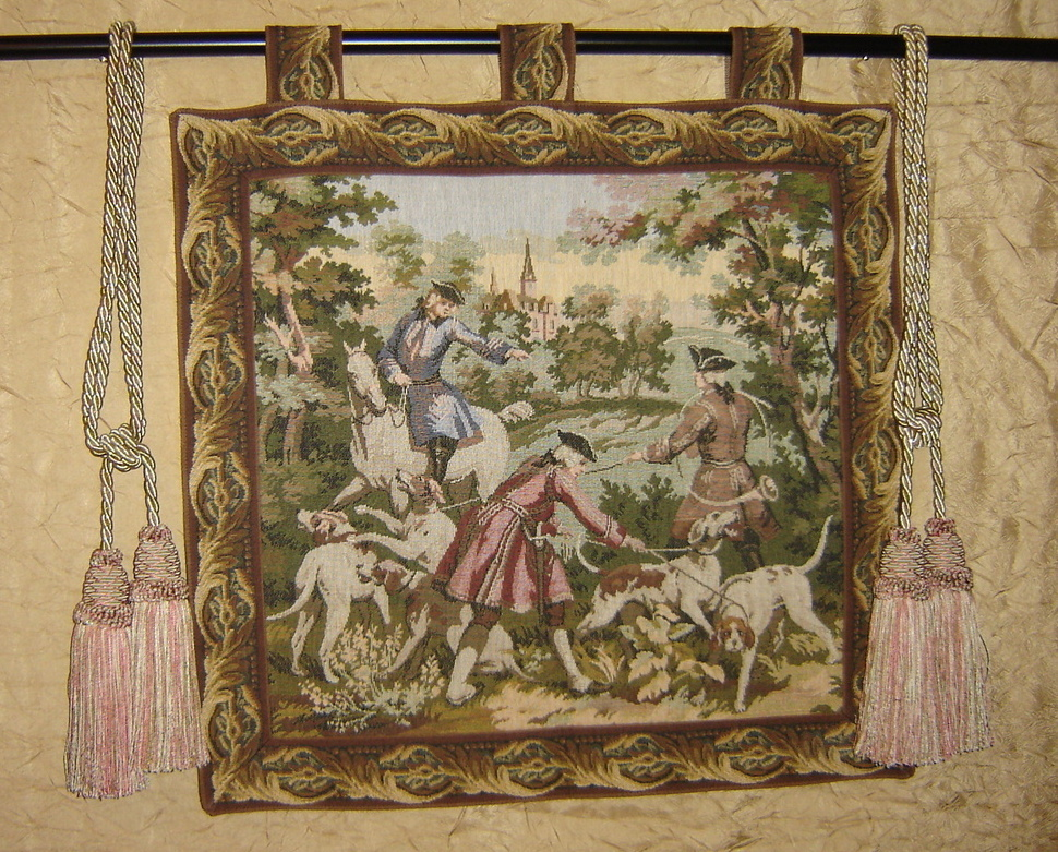 Vintage Tapestry Hunting Scene Wall Hanging
