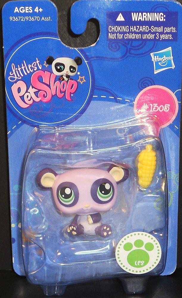 Image 2 of Littlest Pet Shop Purple Panda 1305 with corn cob single pack