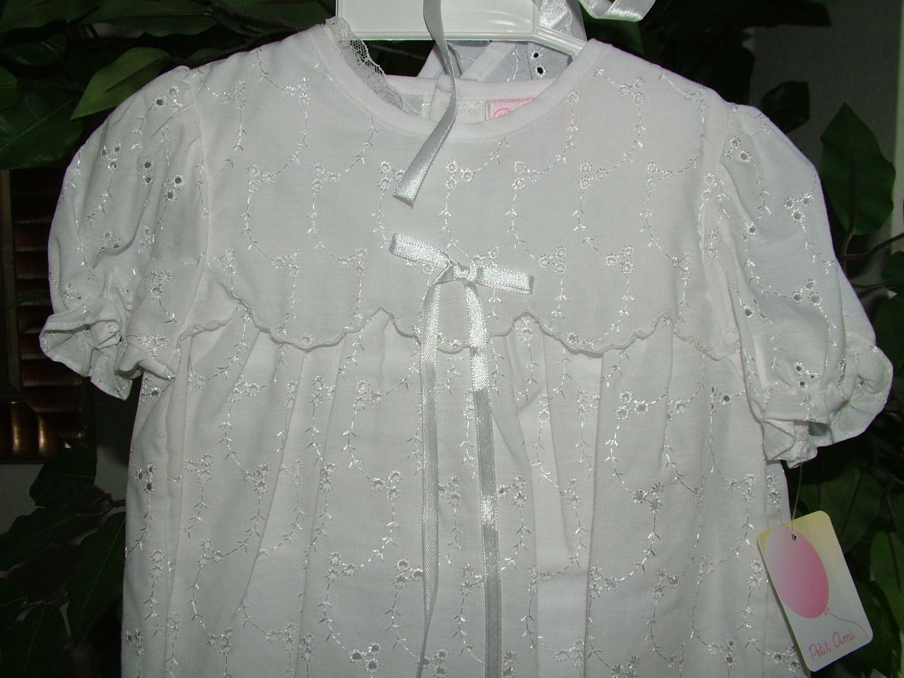 Image 2 of Precious Sweet Petit Ami Lined Cotton Eyelet Christening Scalloped Yoke Hat Set