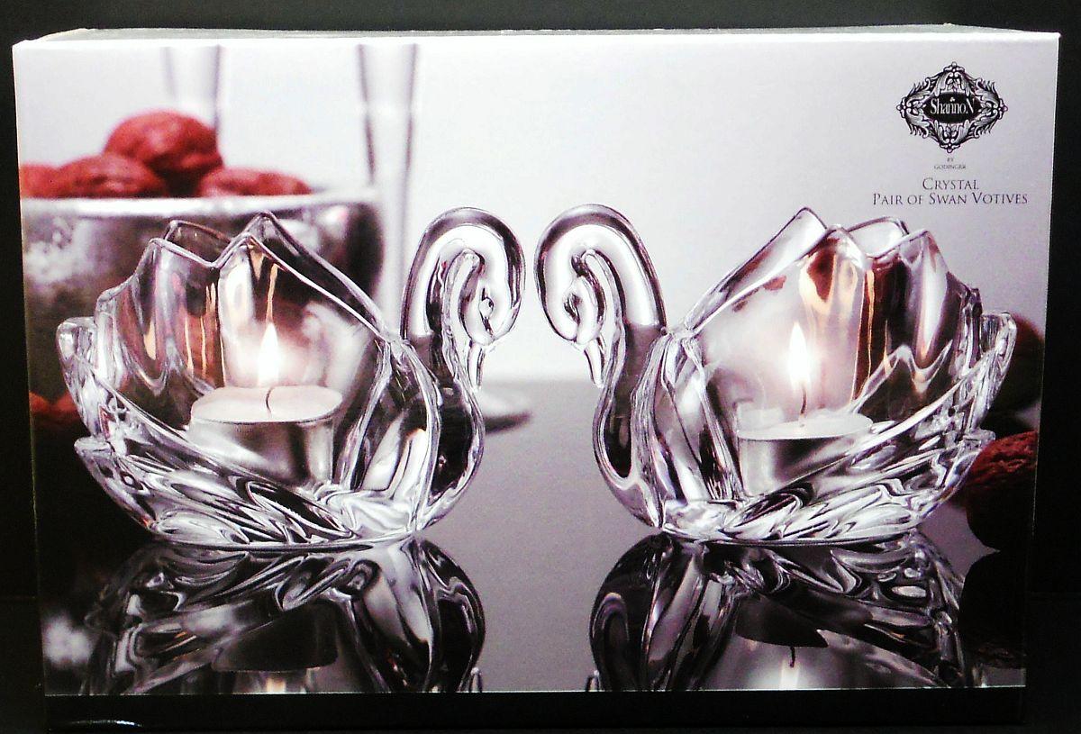 Image 2 of Crystal Swan Votives Shannon by Godinger Set of 2