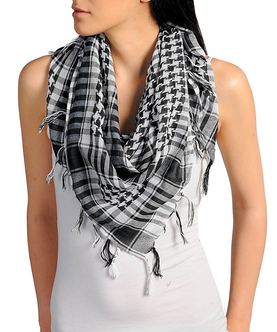 New Womens Houndstooth Black & White Plaid Fringed Scarf Fun Fashion