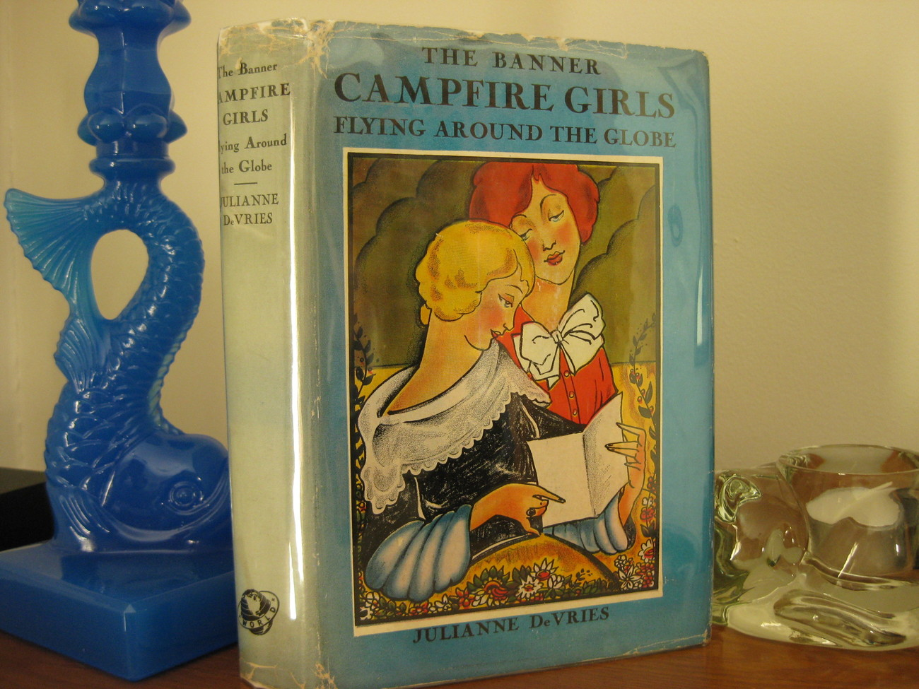 BANNER CAMPFIRE GIRLS FLYING AROUND THE GLOBE DeVRIES Two Books in One HC/DJ