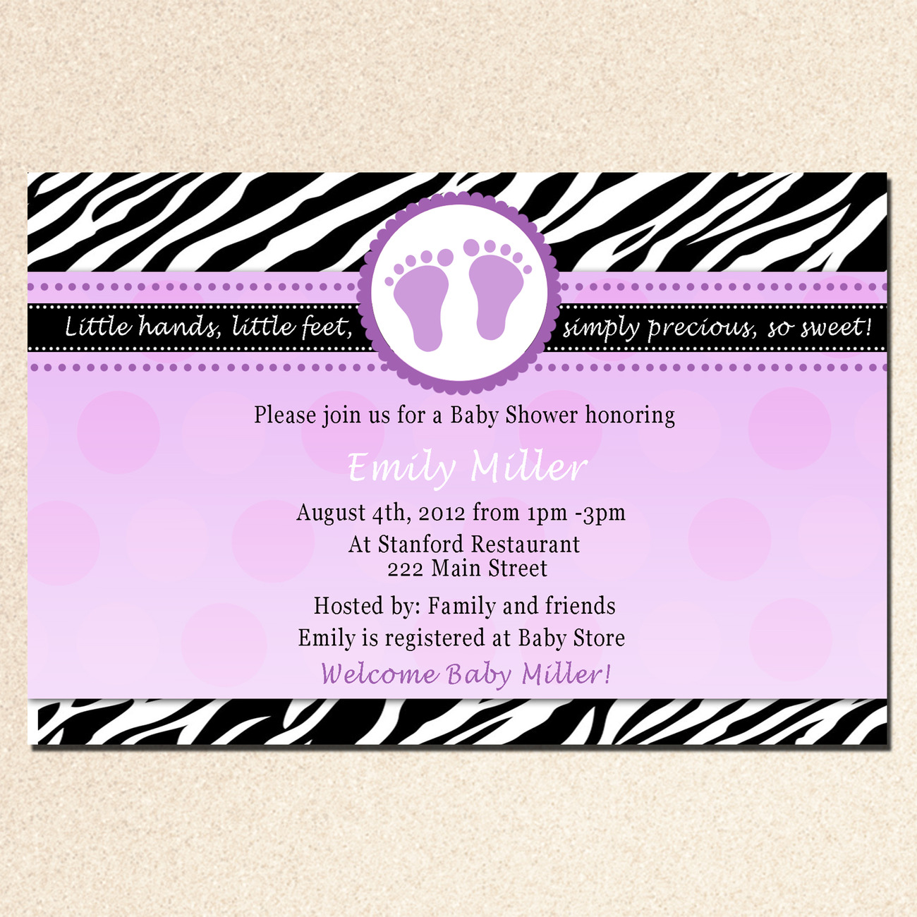 30 Personalized Baby Shower Purple Prune Violet Invitations Card Feet Treads