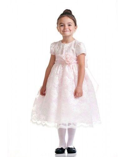 Stunning Ivory Lace/Pink Satin Christening Flower Girl Dress w/ Flower USA - Pin