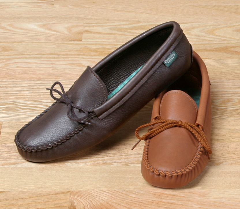 Mens Casual Footwear Mens Softsole Deertan Leather Moccasins Made in USA Bonanza