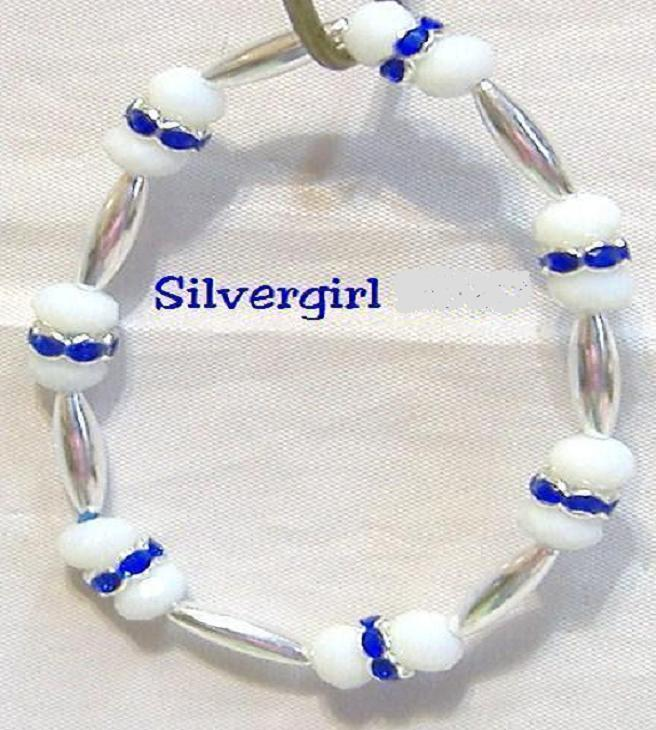 CZ Milk White Crystal Blue SP Collar Stretch Bracelet
