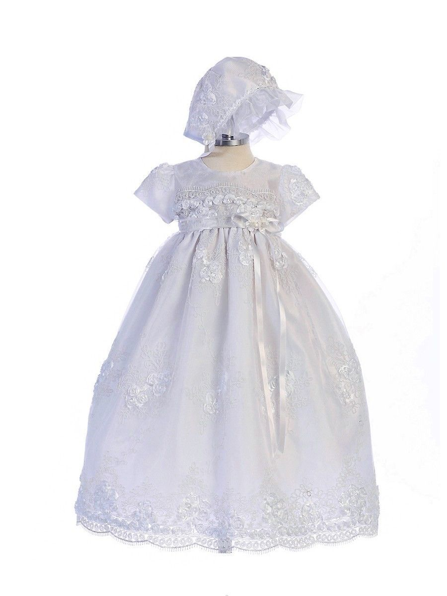 Image 2 of Exquisite Lace Detail Baby Girl Christening Dress Hat Set, Crayon Kids USA BC238