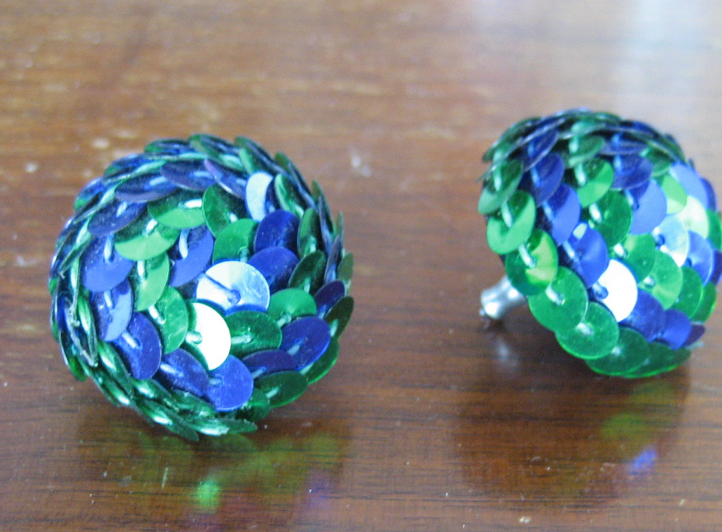 Vintage Earrings Pierced Green Blue Sequins Domed Circles Silver Tone Posts