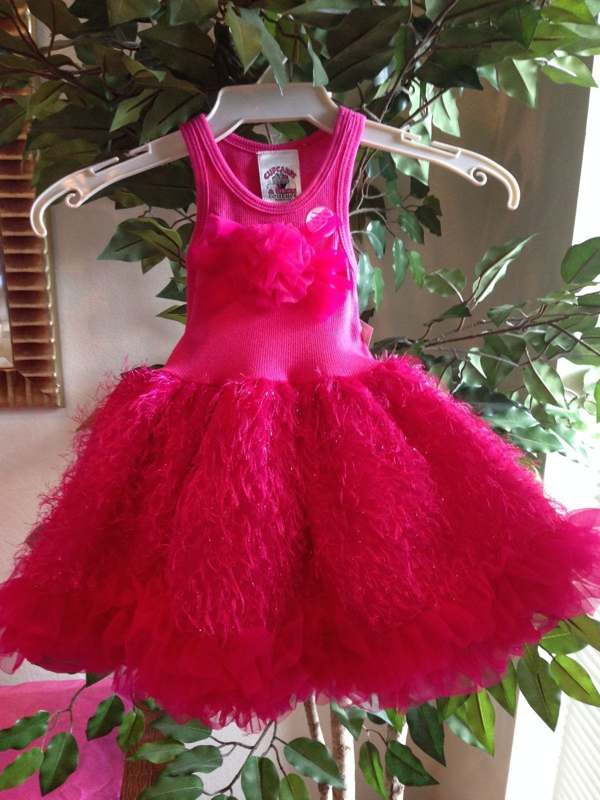 Image 1 of Posh Sparkly Fuchsia Eyelash Chiffon Pink Tutu Dress, 6M-5/6 USA Cupcakes Kisses
