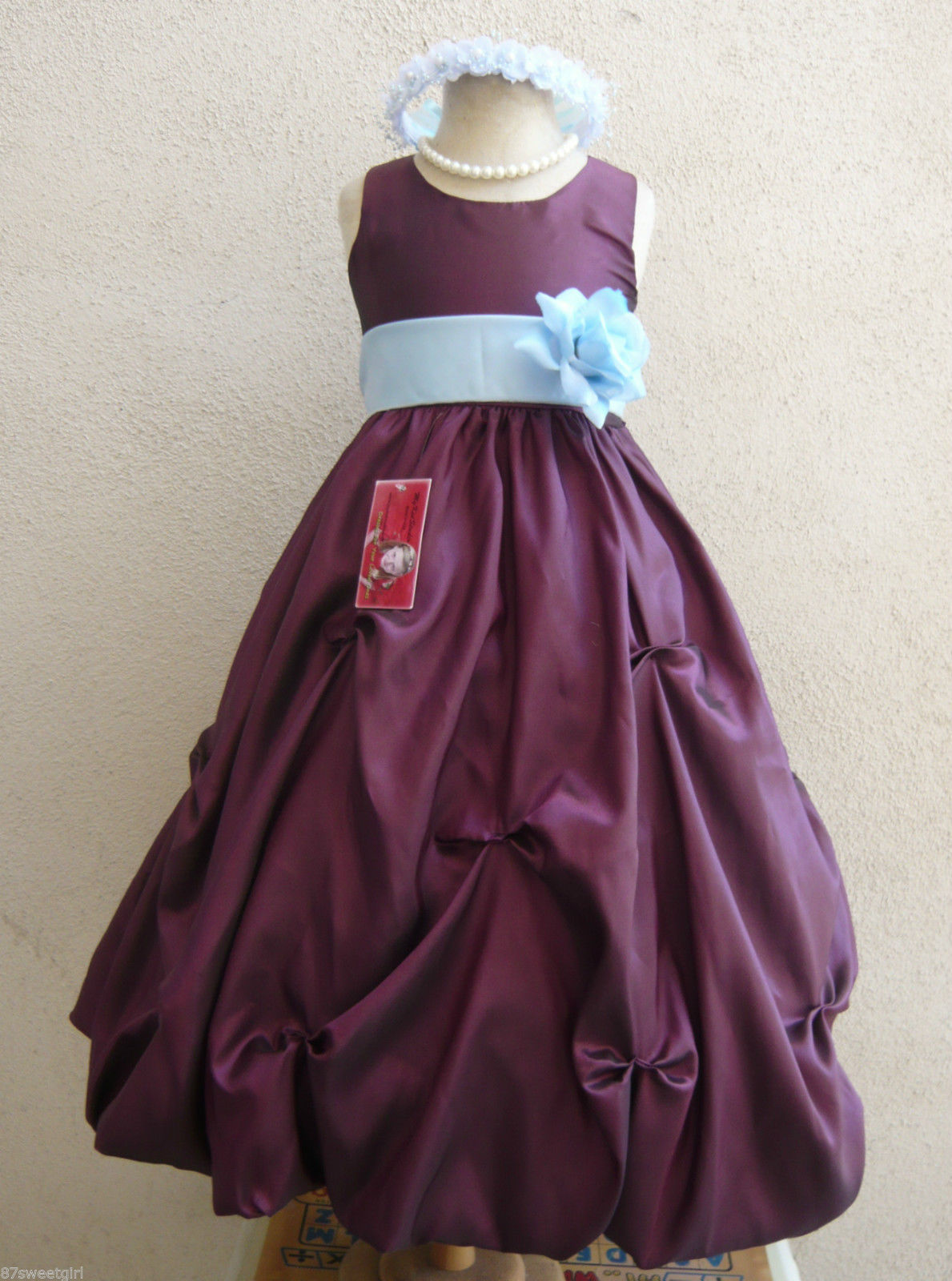 PURPLE PLUM RED EASTER BRIDAL BIRTHDAY TODDLER FLOWER GIRL DRESS PO1 Dresses
