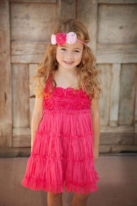 Image 4 of Fun Flirty Precious One Posh Kid Cascading Ruffles Tulle Dress, Fuchsia or Aqua