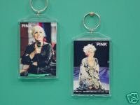 Pink Alecia Moore 2 Photo Collectible Keychain 01