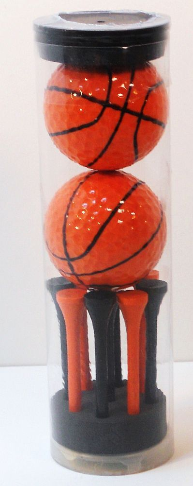 Basketball Golf Balls Sport Balls with black and orange Tees