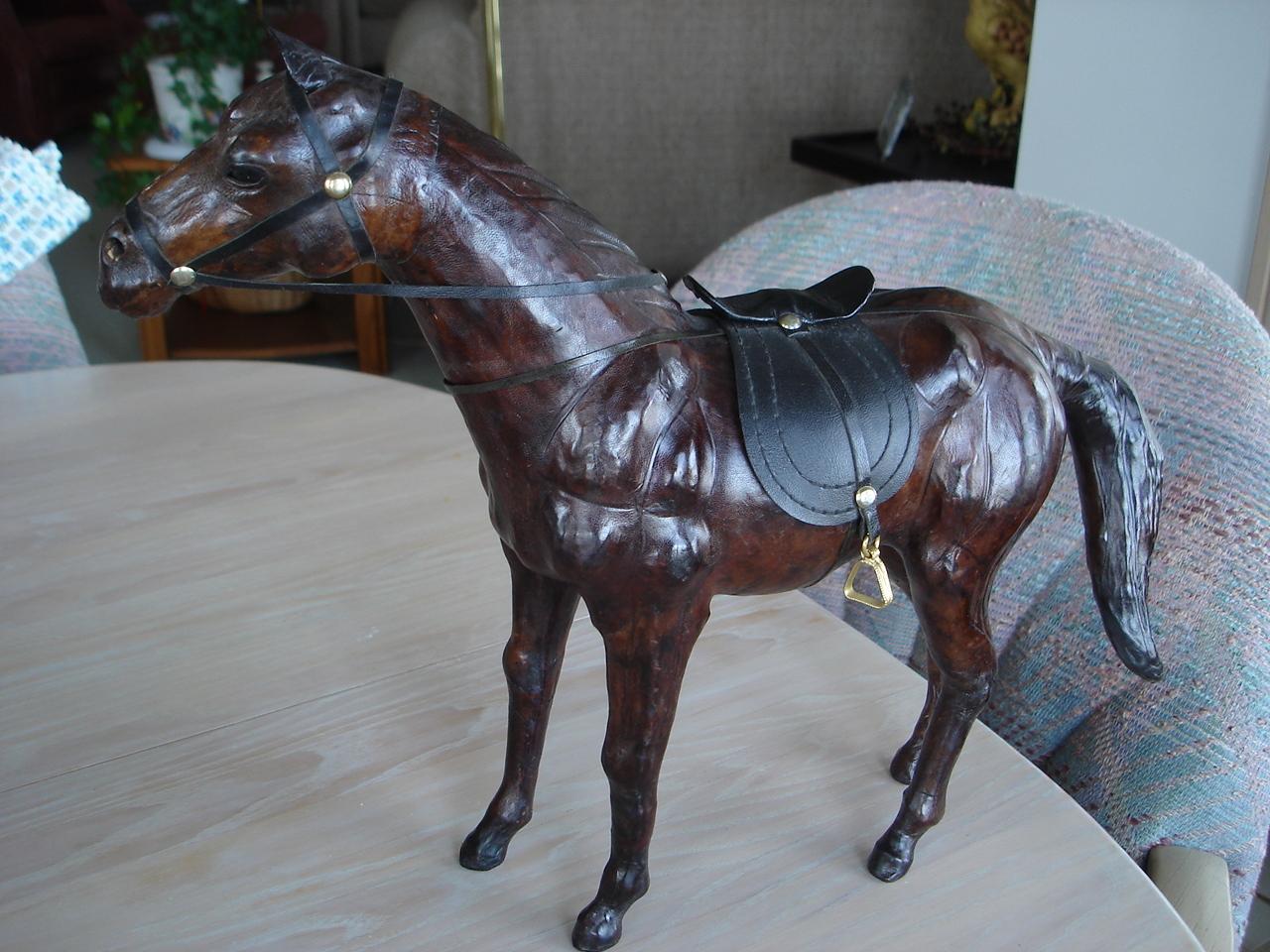Home Decor Leather Covered Horse Figurine Saddle Bridle