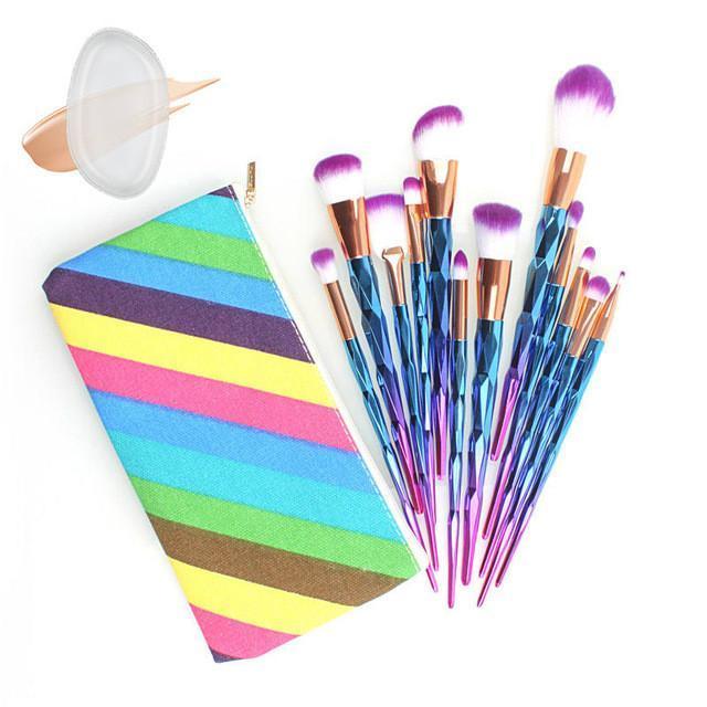 12Pcs Diamond Shaped Makeup Brush Set+Big Fish Tail Foundation Powder Eyeshadow - Set 1