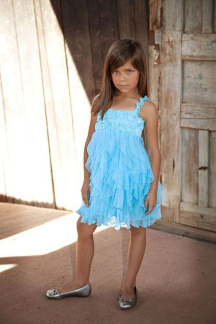 Image 1 of Fun Flirty Precious One Posh Kid Cascading Ruffles Tulle Dress, Fuchsia or Aqua