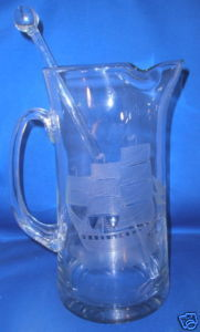 Toscany Crystal Large Martini Pitcher and Stirring Stick