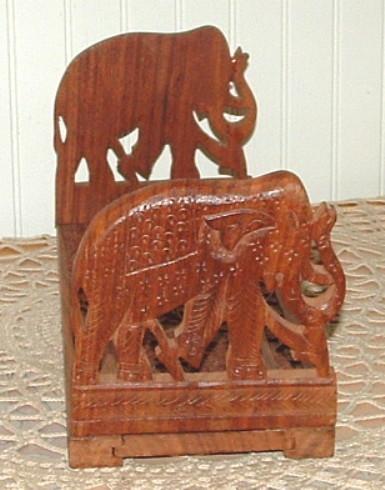 Carved Wood Sliding Adjustable Elephant  Bookends Book Ends
