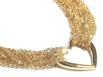Multichain 14K Gold EP Heart Toggle Choker Necklace NP78 Bonanza
