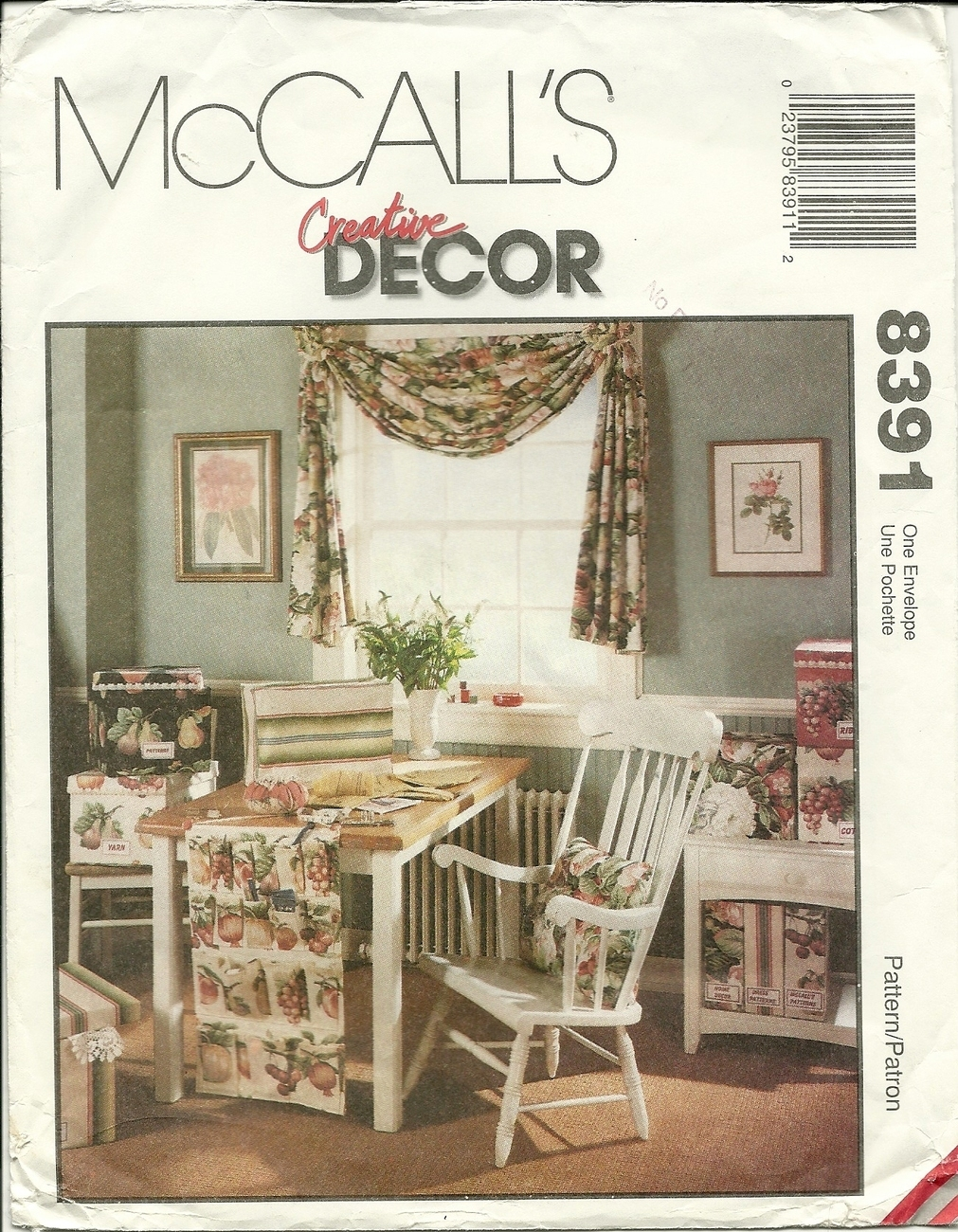 Mccall 39 S Sewing Pattern 8391 Home Decor Swag Office Sewing Room Accessories New Sewing Patterns