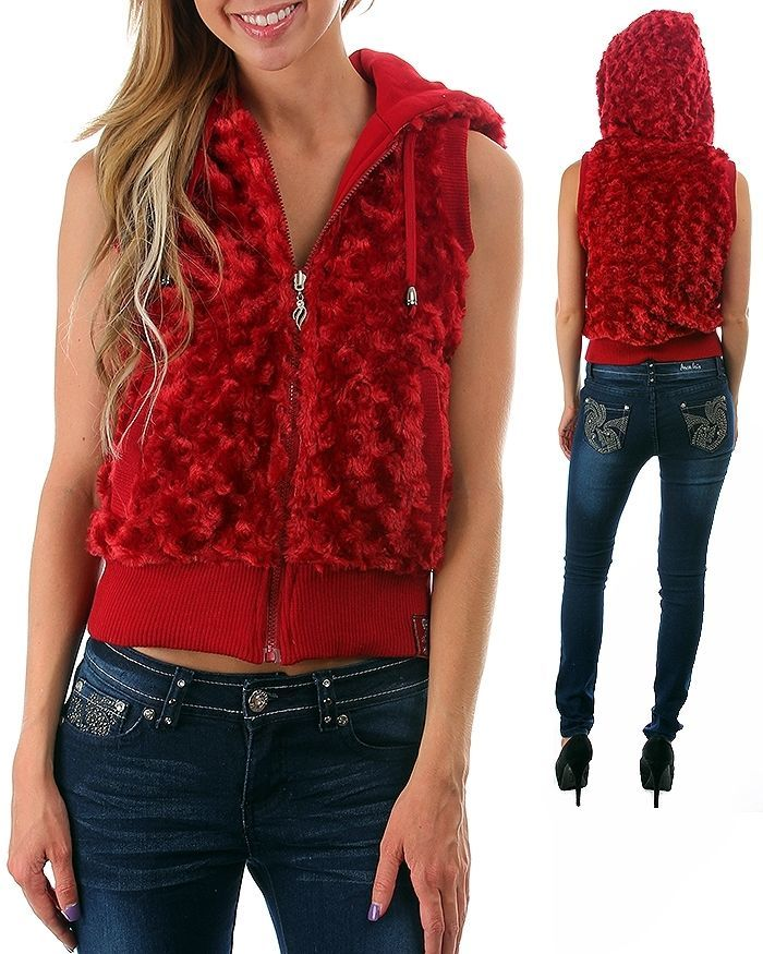 Image 4 of Fun Sexy Hooded Reversible Knit/Faux Fur Vest by Rock Revolution 3 Color Choices