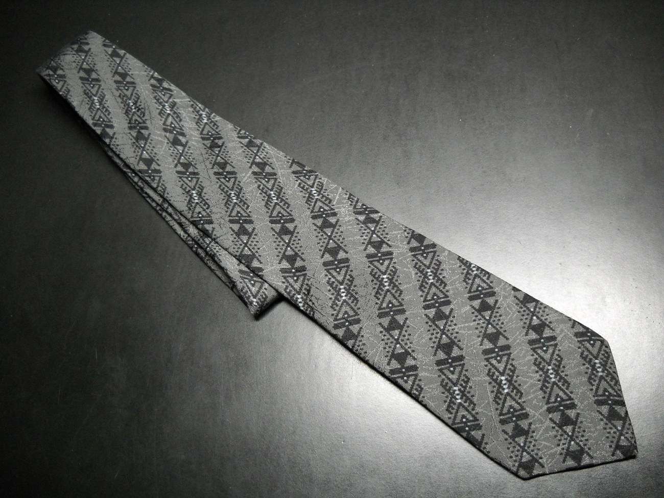 Gianni Versace Neck Tie Stripes in Black and Greys Silk Hand Made in Spain Versace, Gianni Versace