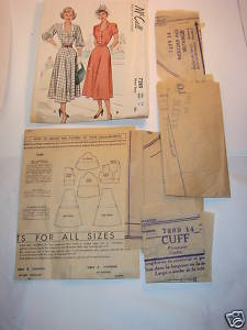 McCall Pattern 1948 # 7289 Misses' Dress Size 14 Bust32 Bonanza